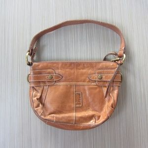 Fossil Brown Leather Shoulder Handbag Purse